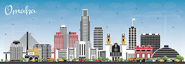Omaha Nebraska City Skyline with Color Buildings and Blue Sky - Buildings Objects