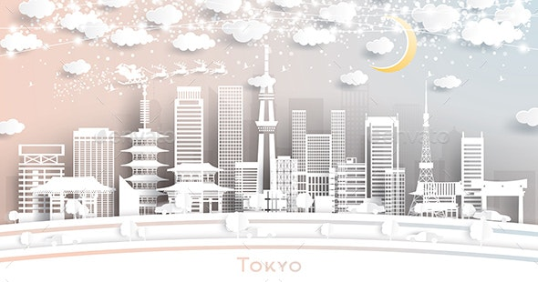 Tokyo Japan City Skyline in Paper Cut Style - Buildings Objects