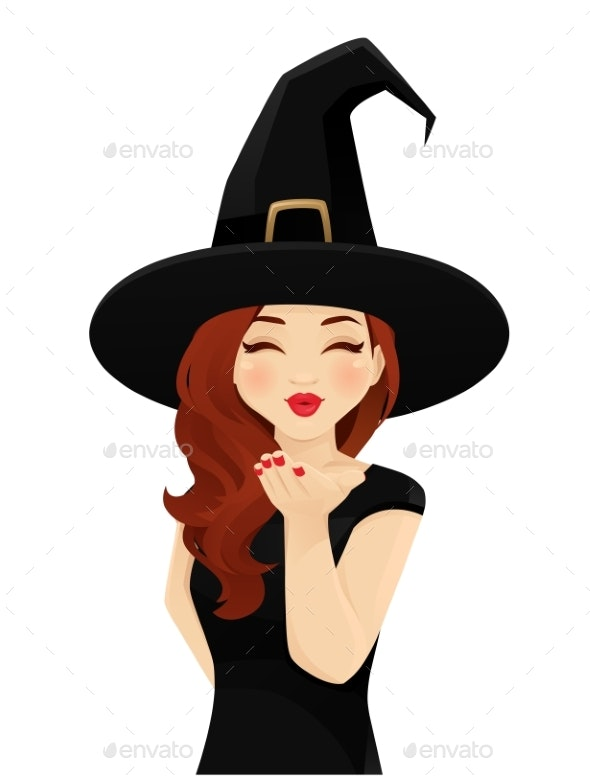Halloween Woman Blowing Kiss - Miscellaneous Vectors