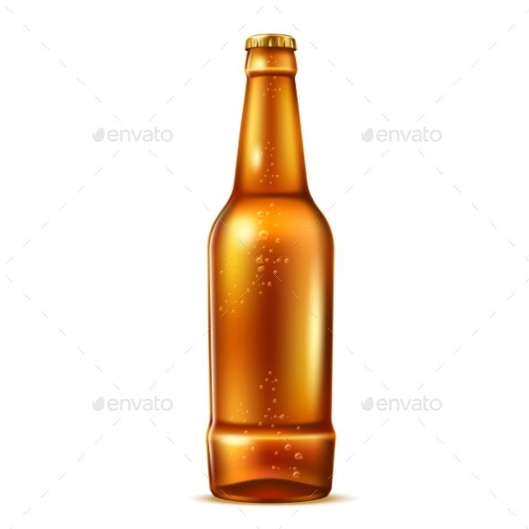 Vector Realistic Glass Beer Bottle with Bubbles - Food Objects