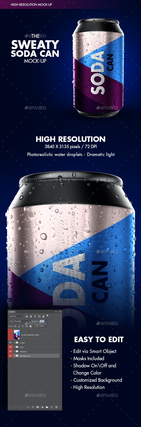 Photorealistic Sweaty Soda Can Mock-up - Food and Drink Packaging