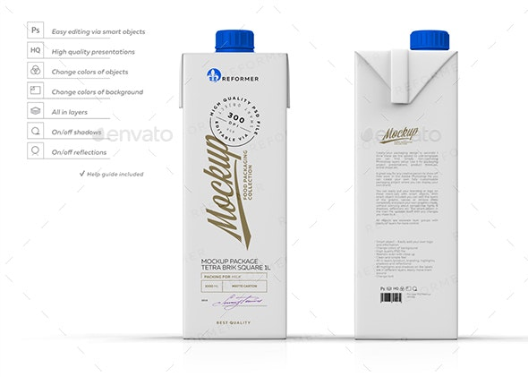 Mockup Poster Package Tetra Brik Square 1L - Product Mock-Ups Graphics
