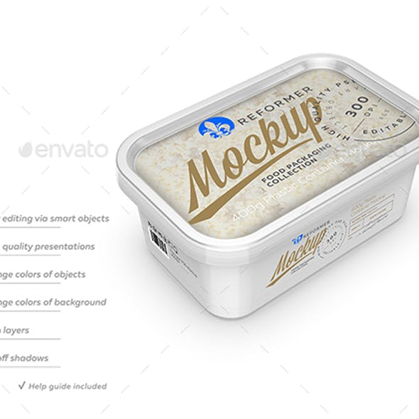 400g Plastic Container Mockup - Three-quarter View