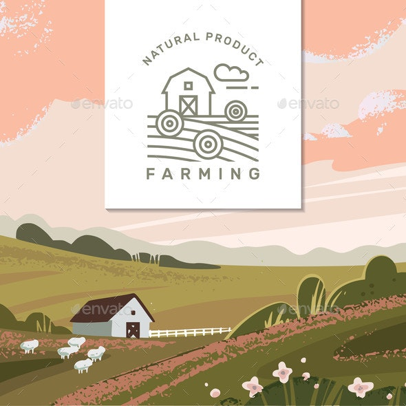 Vector Farming Background - Animals Characters