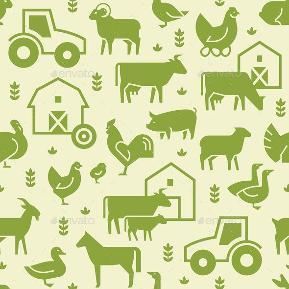 Seamless Vector Pattern of Farm Animals - Animals Characters