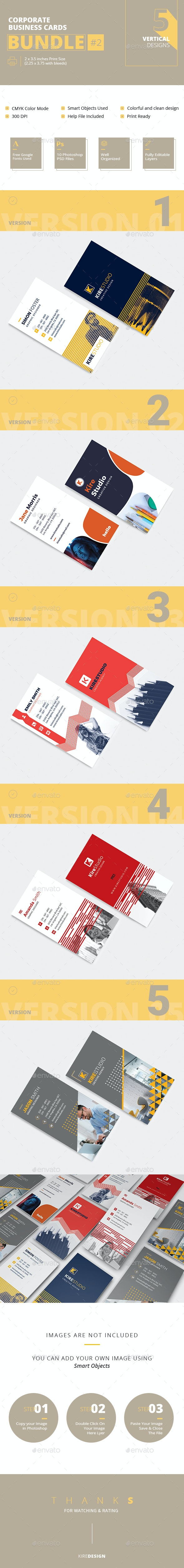 Business Cards Bandle #2 - 5 Vertical Designs - Business Cards Print Templates