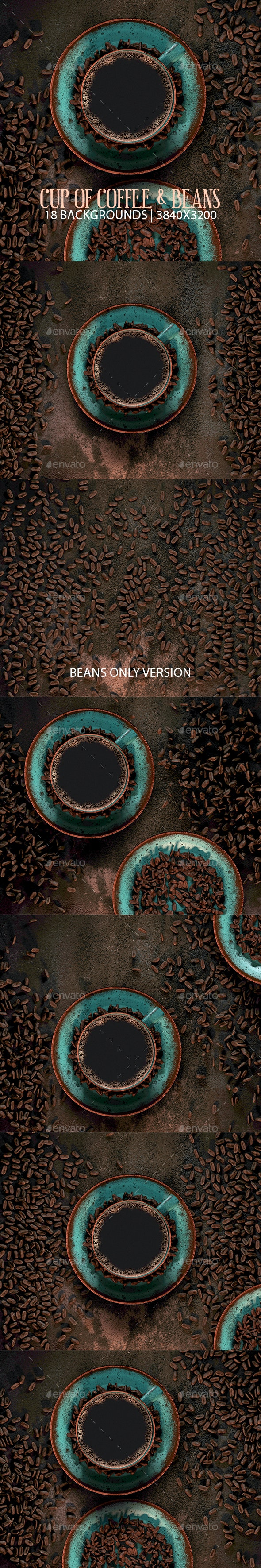 Cup of Coffee & Beans - 3D Backgrounds