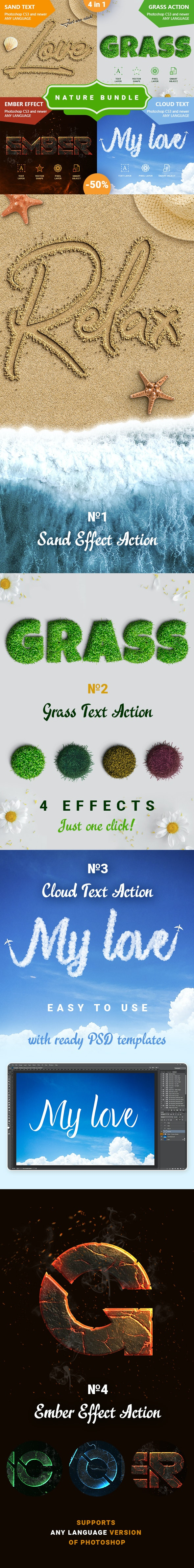 Nature - Actions Bundle - Text Effects Actions