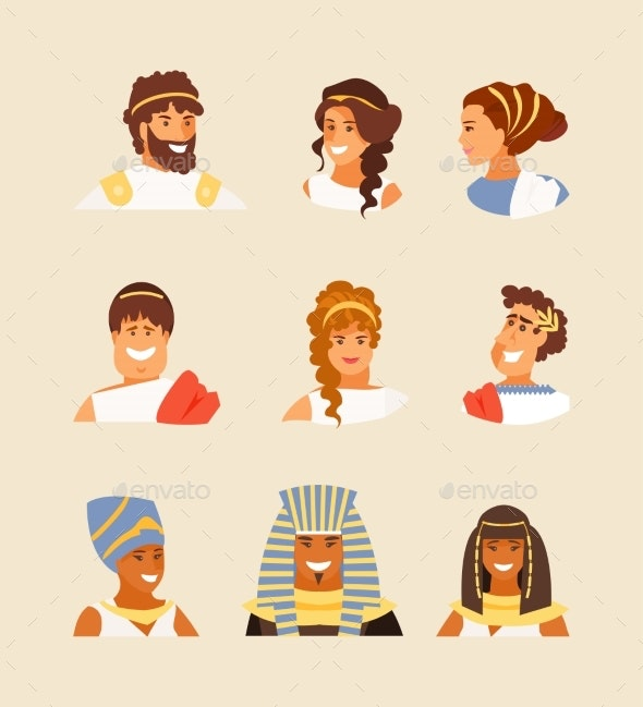 Ancient Greek, Roman and Egyptian People Vector - People Characters