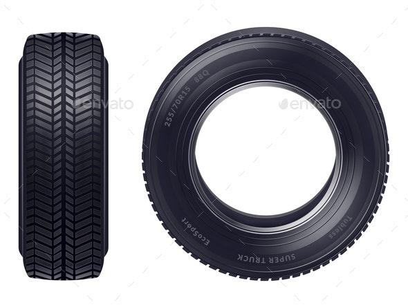 Realistic Car Tires Set - Miscellaneous Vectors