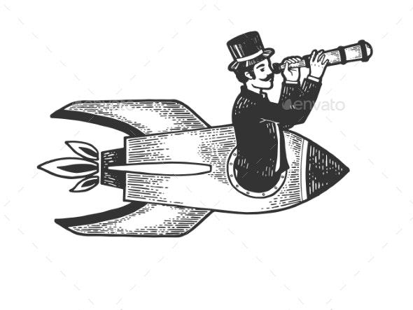 Gentleman Flies in Rocket with Telescope Sketch - People Characters
