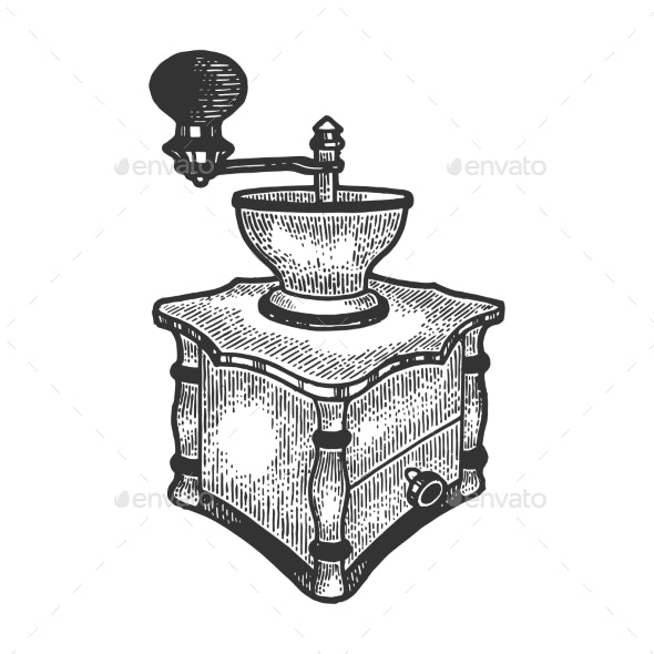 Coffee Grinder Sketch Vector Illustration - Man-made Objects Objects