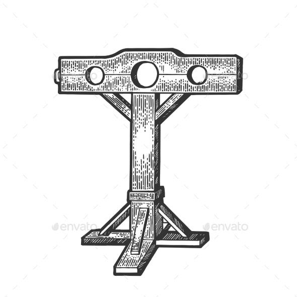 Stocks Torture Device Sketch Vector - Miscellaneous Vectors