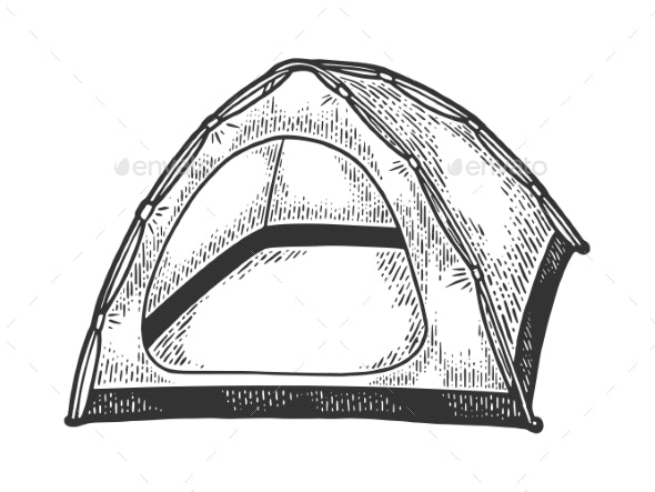 Tourist Tent Sketch Vector Illustration - Man-made Objects Objects