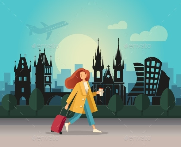 A Girl with a Suitcase and Walking - Travel Conceptual