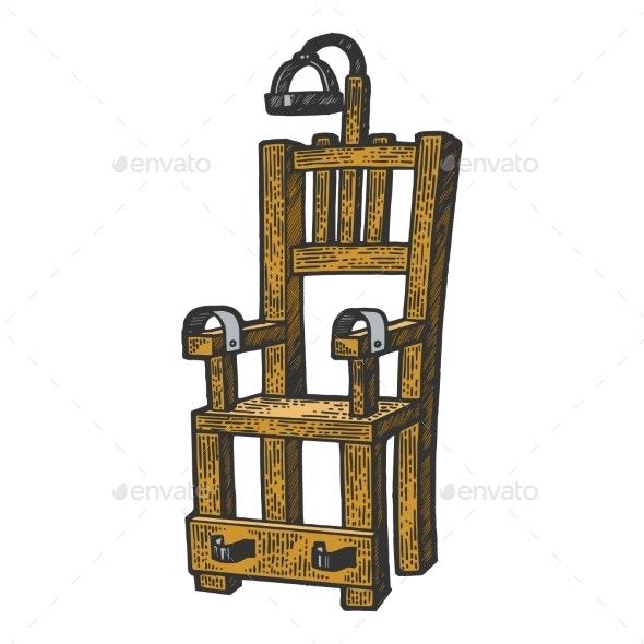 Electric Chair Color Sketch Engraving Vector - Miscellaneous Vectors