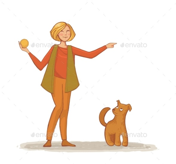 Young Woman Throws a Ball To His Dog - Sports/Activity Conceptual