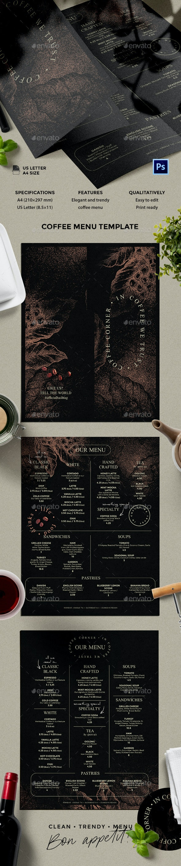 Coffee Menu - Food Menus Print Templates