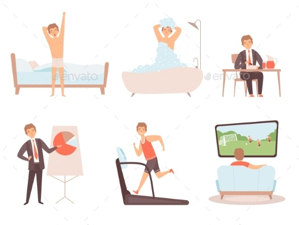 Man Daily Routine - Miscellaneous Vectors