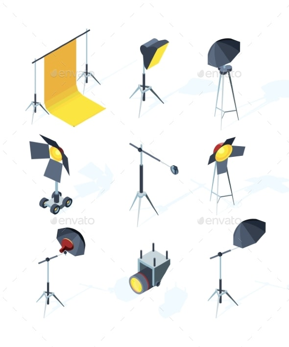 Studio Equipment Isometric - Man-made Objects Objects