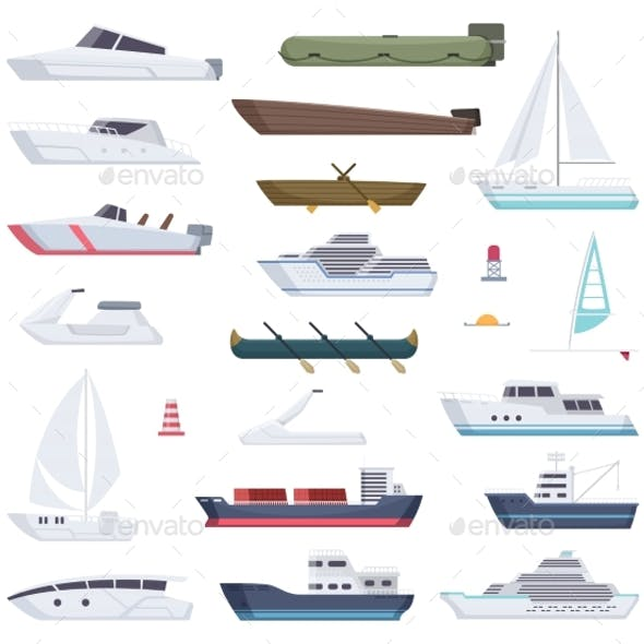 Boats. Water Sea or Ocean Vessel Small and Big