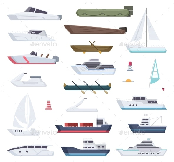 Boats. Water Sea or Ocean Vessel Small and Big - Man-made Objects Objects