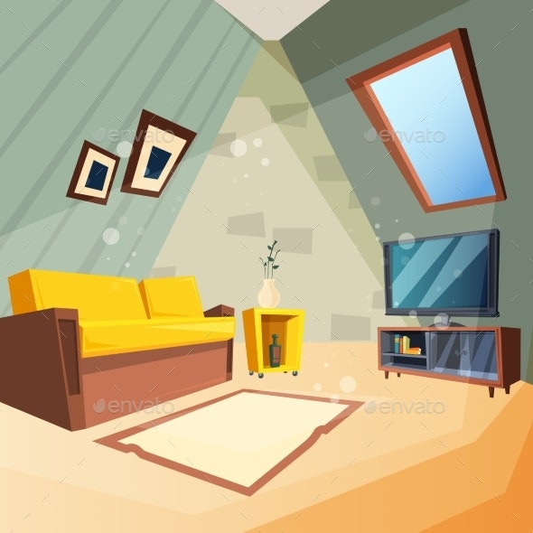 Attic Bedroom for Kids Interior of Attic Room - Miscellaneous Vectors