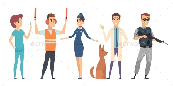 Different Professions People Characters Isolated - People Characters