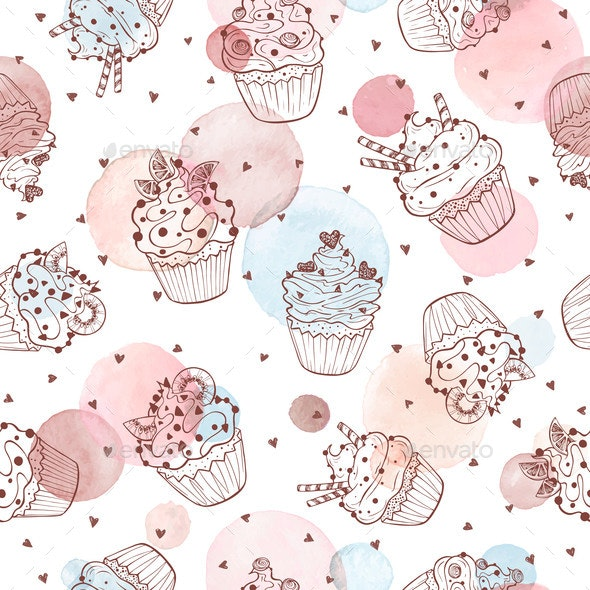 Cupcakes Seamless Pattern - Food Objects