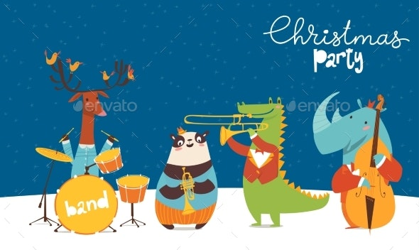 Christmas Party Images Cartoon.Christmas Party Vector Poster With Jazz