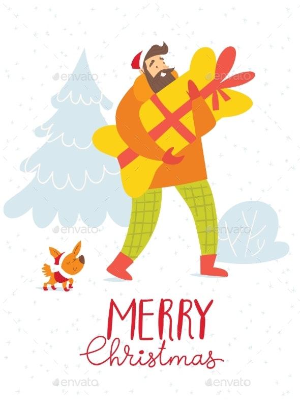 Merry Christmas Vector Card with Shopping Man - Christmas Seasons/Holidays