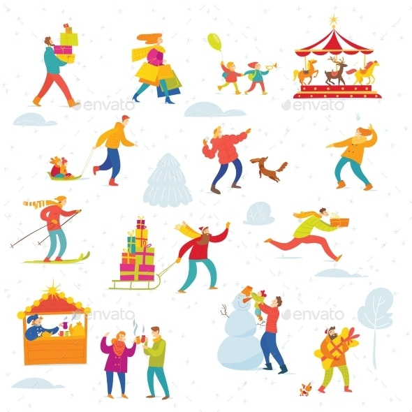 Vector Christmas Winter Design for Holiday Market - People Characters
