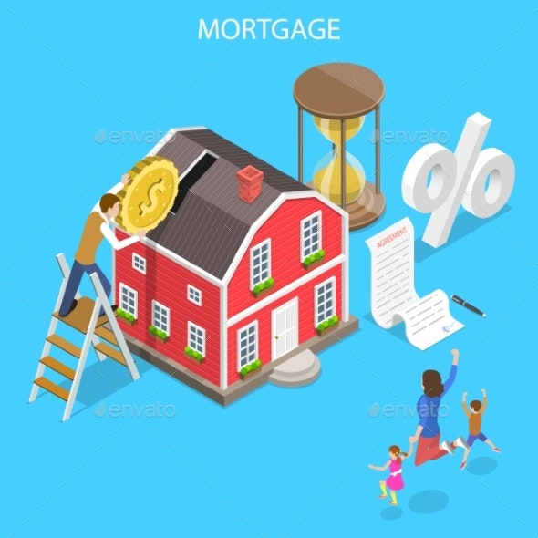 Isometric Flat Vector Concept of Mortgage - Concepts Business