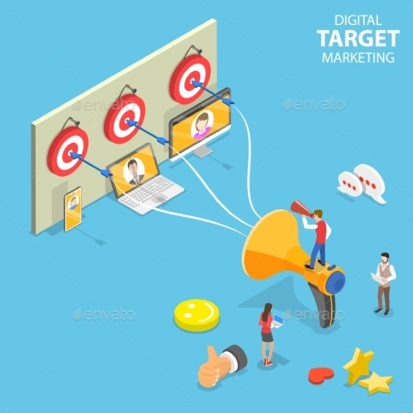 Isometric Flat Vector Concept of Digital Target - Concepts Business