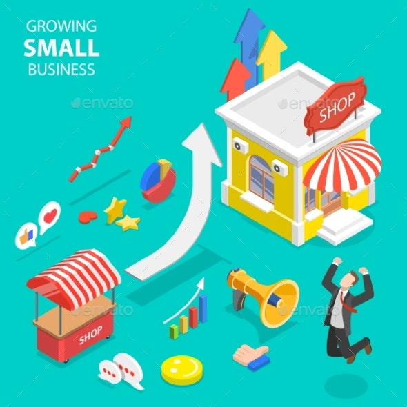 Isometric Flat Vector Concept of Small Business - Concepts Business