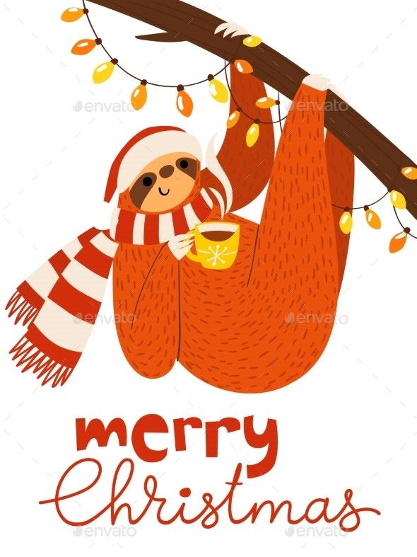 Vector Merry Christmas Card with Sloth - Christmas Seasons/Holidays