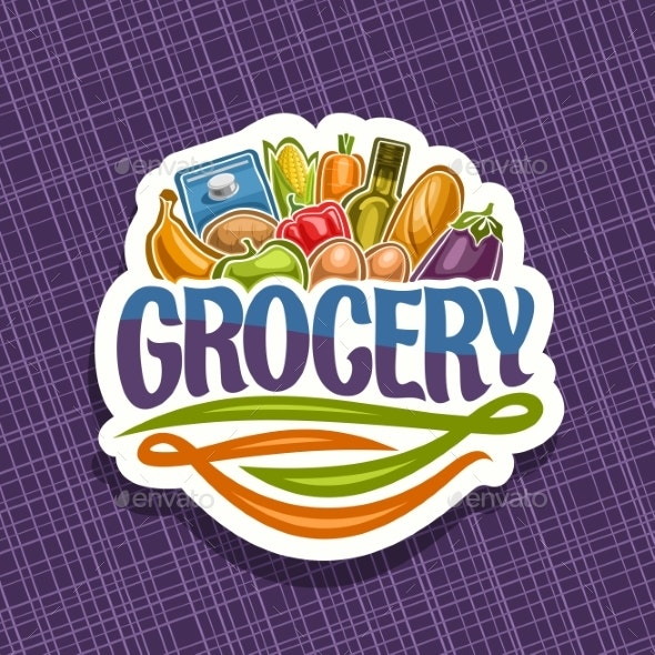 Vector Logo for Grocery Store - Food Objects