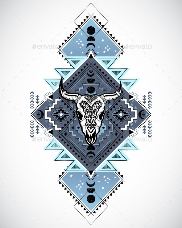 Vector Tribal Animal Skull with Moon Design - Animals Characters