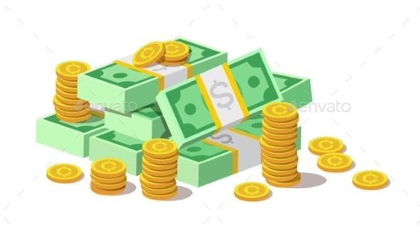 Pile of Cash Money Banknotes and Gold Coins - Concepts Business