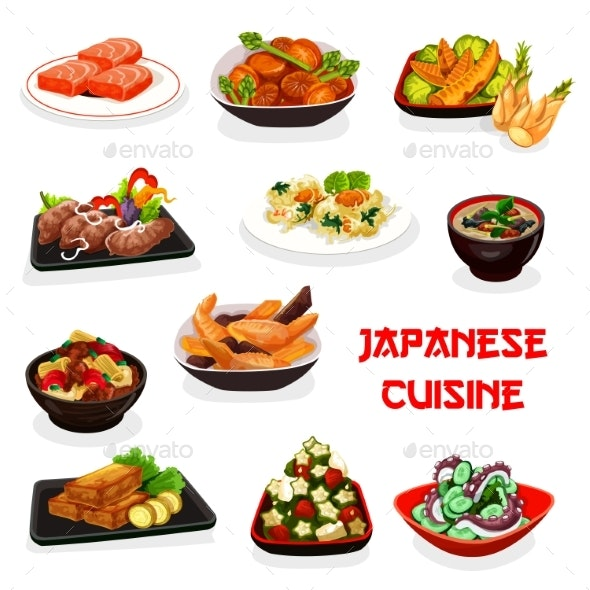 Japanese Dishes of Fish, Vegetable, Meat, Seafood - Food Objects