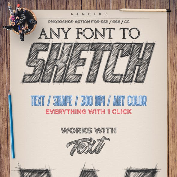 Any Font to Sketch Photoshop Action