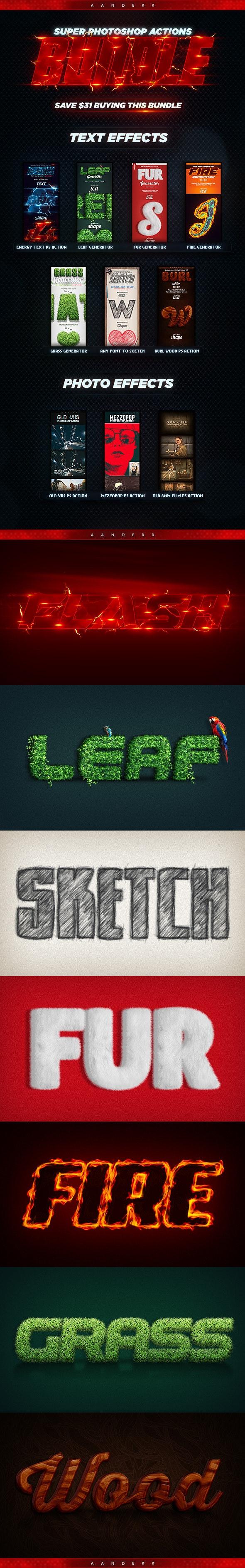 Super Photoshop Actions Bundle - Text Effects Styles
