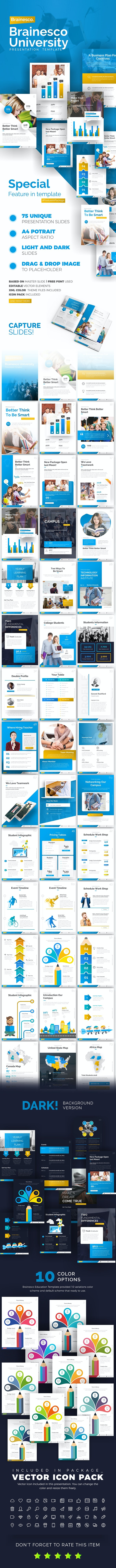 Brainesco Portrait Education PowerPoint Template - PowerPoint Templates Presentation Templates