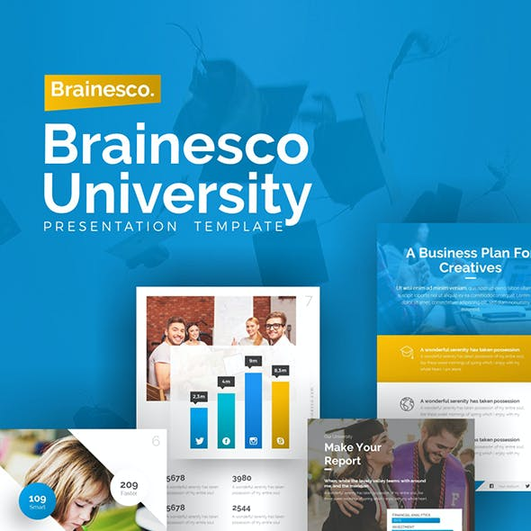 Brainesco Portrait Education PowerPoint Template
