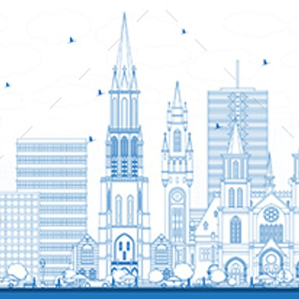 Outline The Hague Netherlands City Skyline with Blue Buildings.