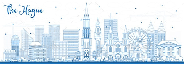 Outline The Hague Netherlands City Skyline with Blue Buildings. - Buildings Objects