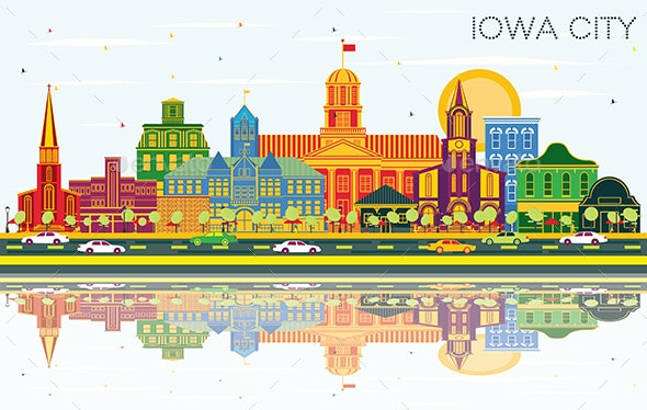 Iowa City Skyline with Color Buildings, Blue Sky and Reflections. - Buildings Objects