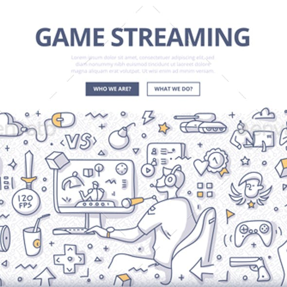 Game Streaming Doodle Concept