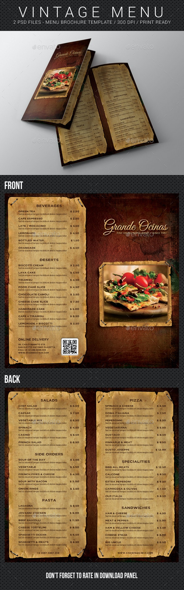 Vintage Menu Brochure - Food Menus Print Templates