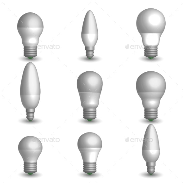 LED Bulb in 3D Vector Illustration - Man-made Objects Objects